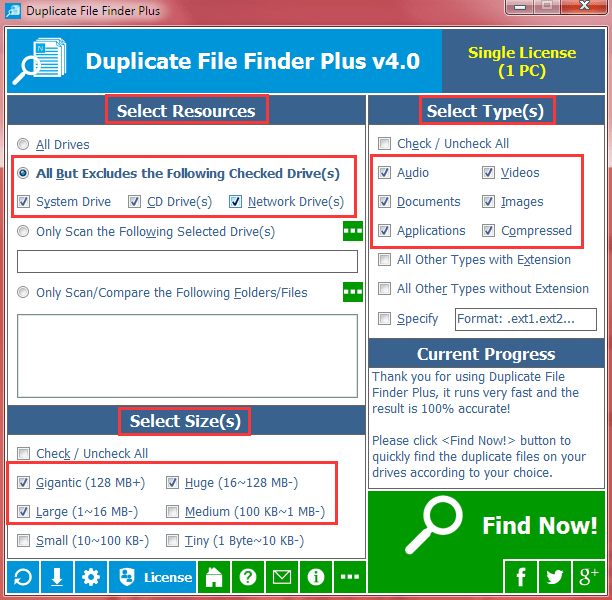 All Default Conditions for Search Duplicate Files