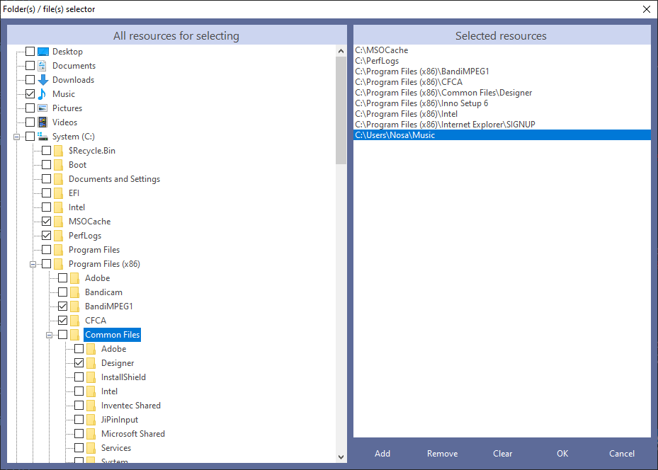Folder(s) / File(s) Selector Interface